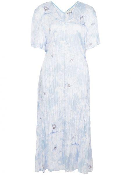 Платье миди с V-образным вырезом синее Vince.