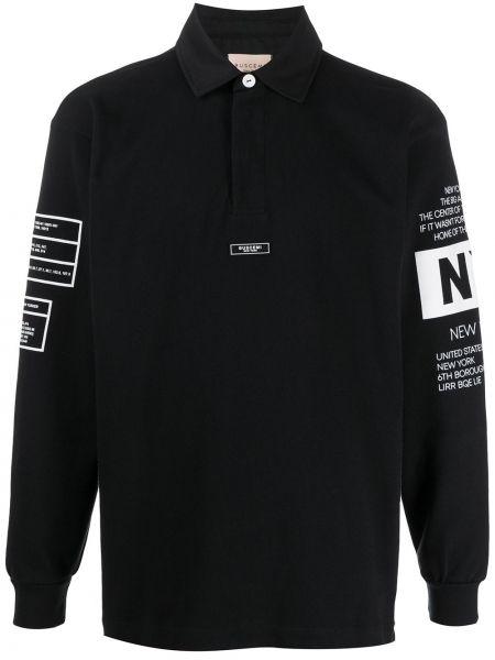 Czarna klasyczna koszula bawełniana z długimi rękawami Buscemi
