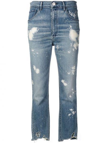 Хлопковые синие укороченные джинсы в стиле бохо узкого кроя 3x1