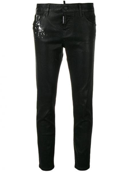 Черные джинсы-скинни на пуговицах с поясом с пайетками Dsquared2