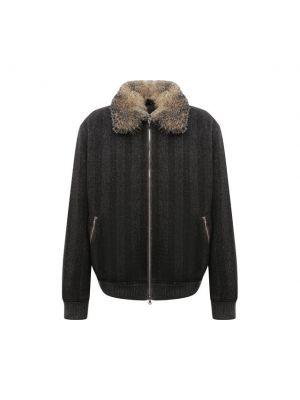 Серая кожаная куртка Cortigiani