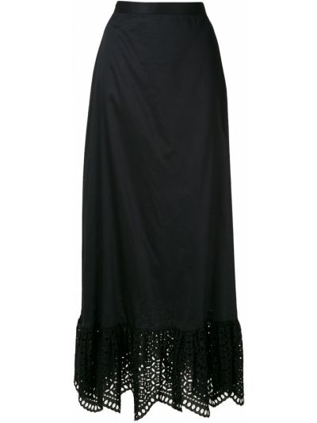 Хлопковая черная юбка на молнии с оборками Reinaldo Lourenço