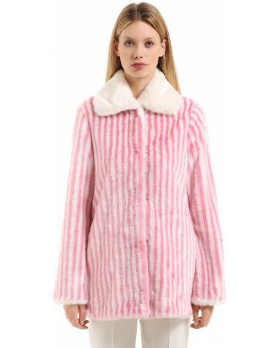 Белое пальто из искусственного меха с карманами Marco De Vincenzo