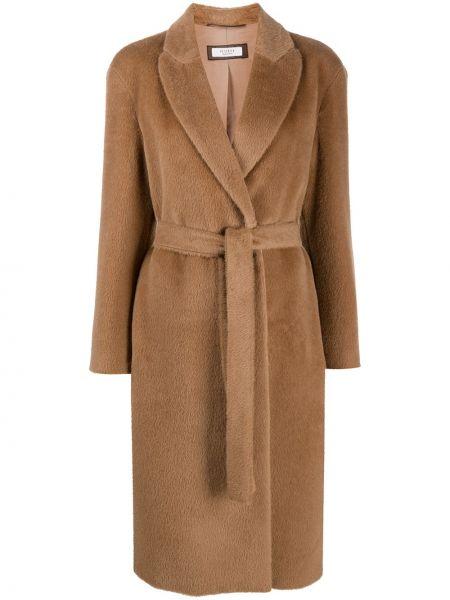 С рукавами длинное пальто из альпаки с поясом Peserico