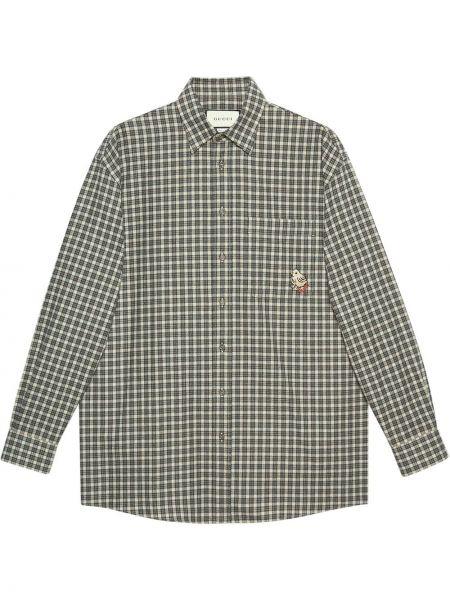 Klasyczny bawełna koszula klasyczna z mankietami z haftem Gucci