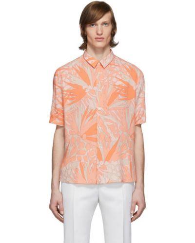 Pomarańczowy koszula z wiskozy z kołnierzem krótkie rękawy Saint Laurent