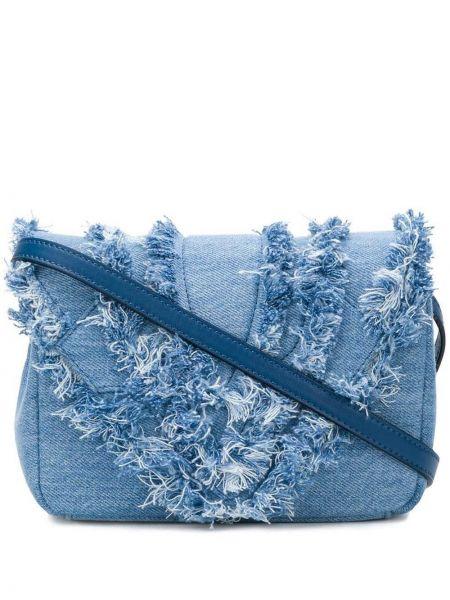 Синяя кожаная сумка с бахромой Elena Ghisellini