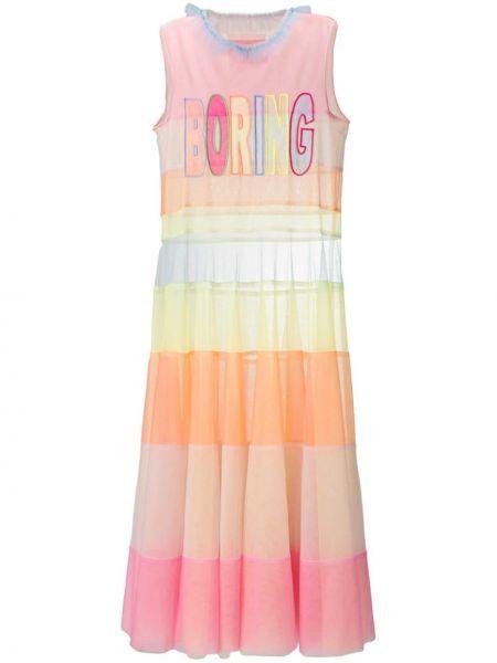 Розовое платье без рукавов с вырезом Viktor & Rolf