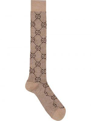 Brązowe wysoki skarpety bawełniane Gucci