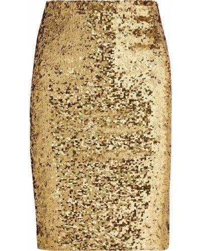 Юбка карандаш из фатина с пайетками золотая Alice + Olivia