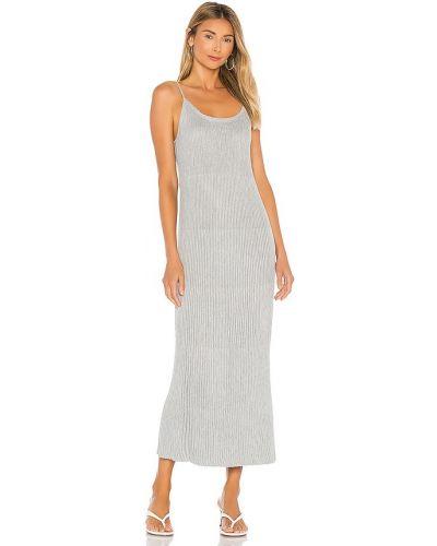 Серебряное платье миди с люрексом с подкладкой John & Jenn By Line