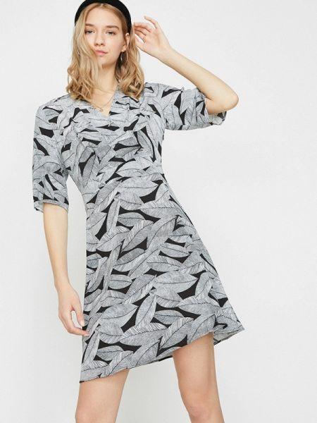 Серое прямое платье Koton