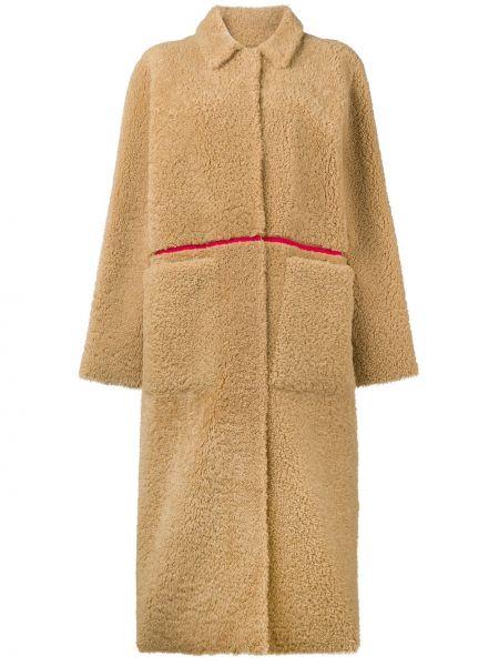 Прямое пальто классическое с воротником с карманами из овчины Inès & Maréchal
