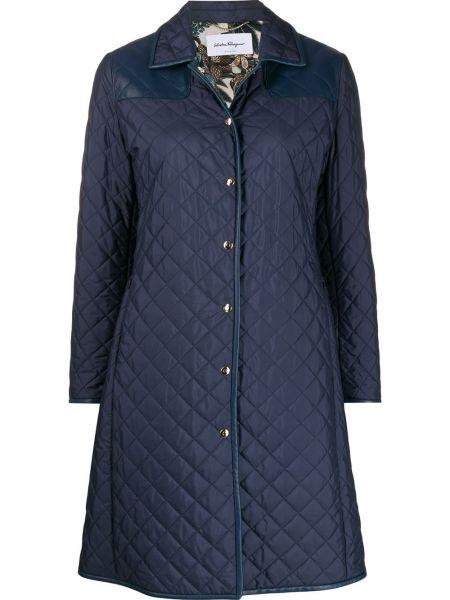 Синее длинное пальто с капюшоном с воротником Salvatore Ferragamo