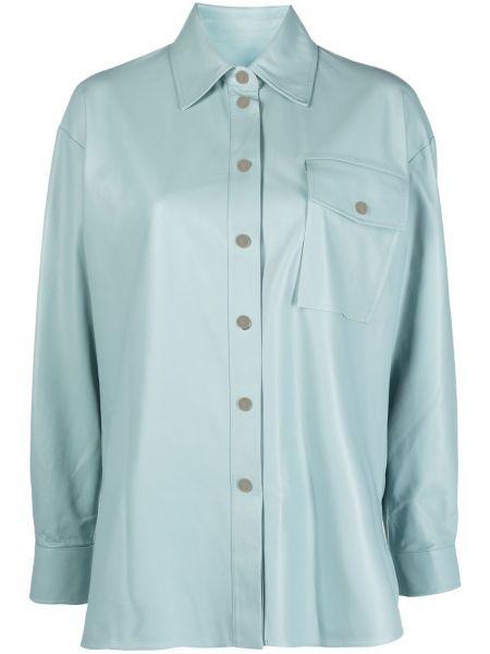 Синяя кожаная рубашка с воротником Arma