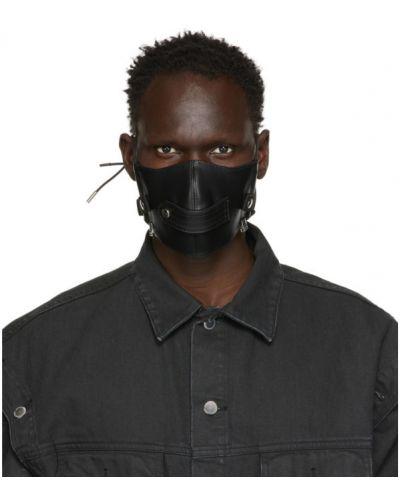 Czarny skórzany maska do ust prążkowany Johnlawrencesullivan