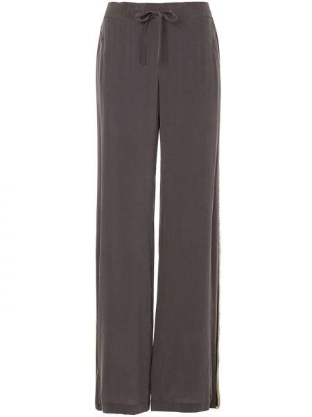 Шелковые серые свободные брюки свободного кроя на шнурках Pierre Balmain