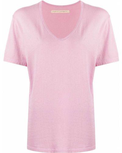 Хлопковая розовая прямая футболка с V-образным вырезом Raquel Allegra