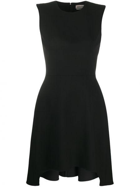 Шелковое черное платье мини с вырезом Alexander Mcqueen