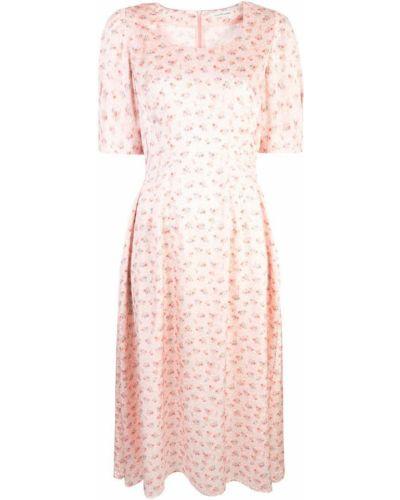 Приталенное розовое расклешенное платье миди Jill Stuart