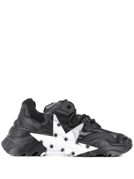 Skórzane sneakersy czarne z siatką N°21
