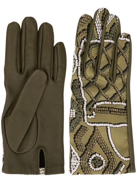 Зеленые шелковые кожаные перчатки винтажные с разрезом Hermès