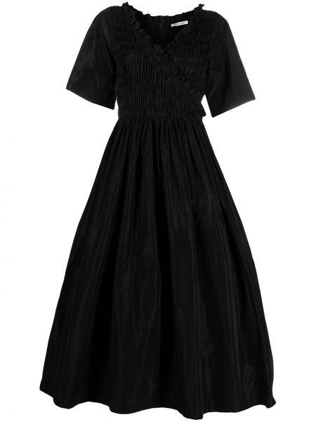С рукавами черное платье мини с оборками Sandy Liang