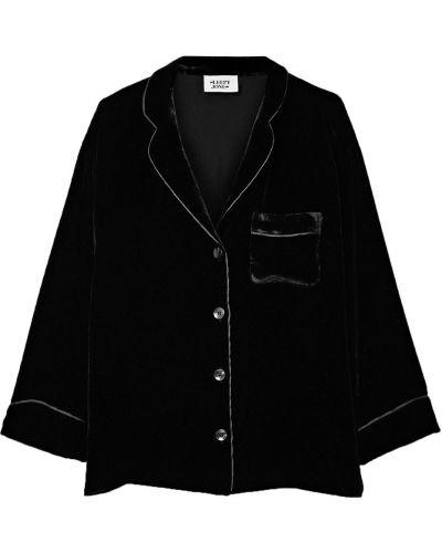Шелковая черная рубашка с карманами Sleepy Jones