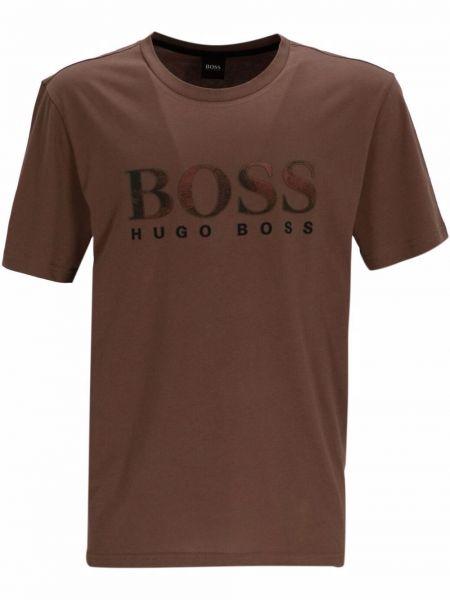 Brązowa koszulka bawełniana Boss Hugo Boss