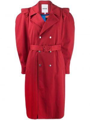 Красное длинное пальто двубортное с воротником Koché