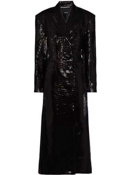 С рукавами черное длинное пальто свободного кроя с карманами Anouki