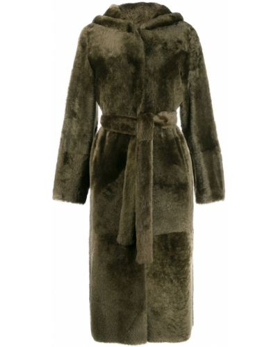 Зеленое кожаное длинное пальто с капюшоном Yves Salomon