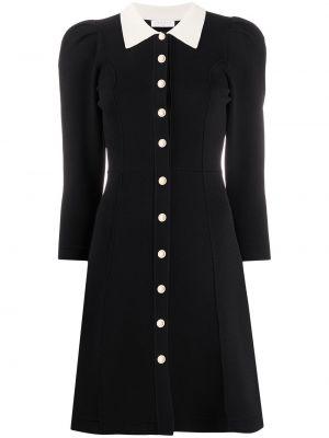 Czarna sukienka długa z długimi rękawami z wiskozy Sandro Paris