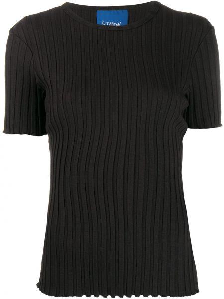 Prążkowany czarny t-shirt krótki rękaw Simon Miller