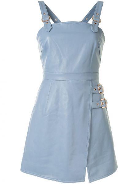 Кожаное платье мини без рукавов с вырезом квадратное Alice Mccall