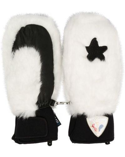 Biały rękawiczki baranica z łatami Rossignol