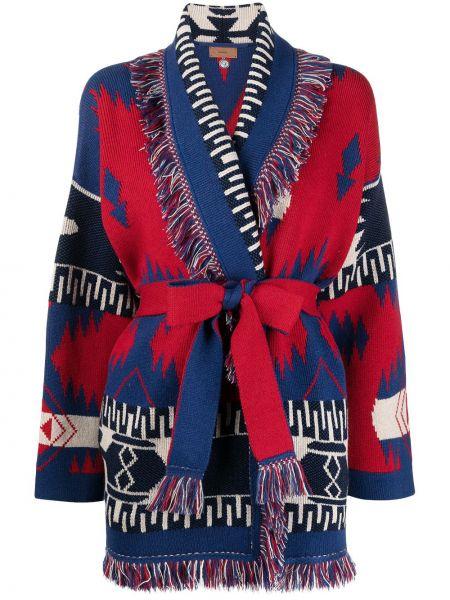 Синее кашемировое длинное пальто с вырезом Alanui