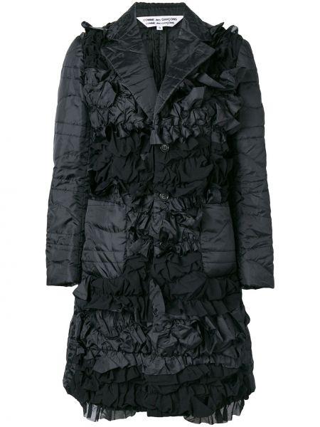 Черная куртка с лацканами с оборками из органзы Comme Des Garçons Comme Des Garçons