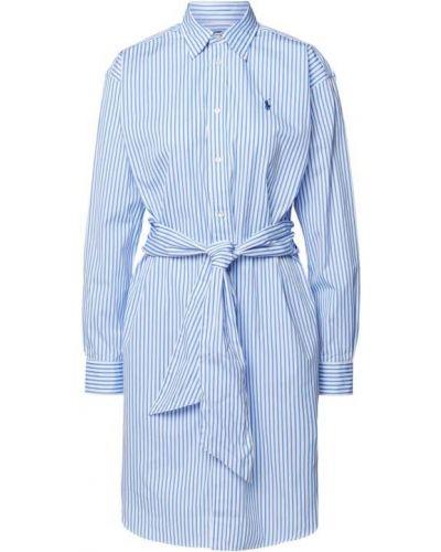 Niebieska sukienka koszulowa w paski bawełniana Polo Ralph Lauren