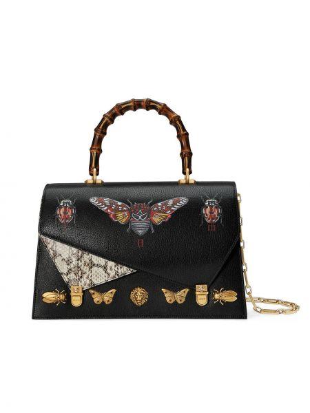 Кожаная сумка на цепочке с заклепками Gucci