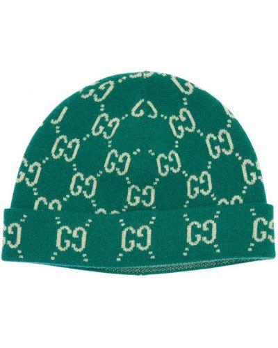 Zielony wełniany kapelusz Gucci