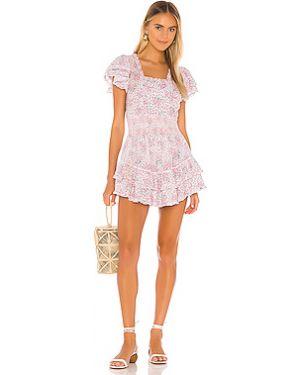 Фиолетовое платье мини на пуговицах с оборками с подкладкой Loveshackfancy