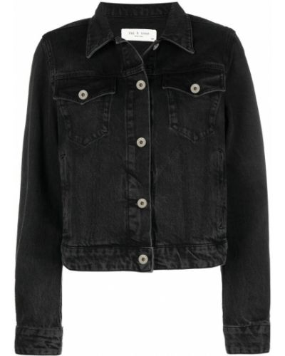 Хлопковая черная джинсовая куртка с воротником Rag & Bone