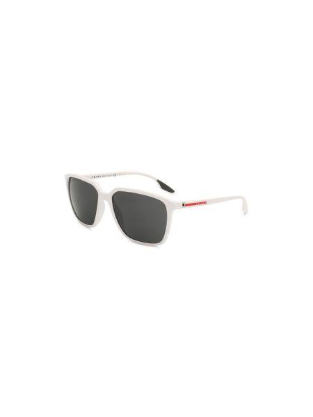 Белые солнцезащитные очки металлические со вставками узкого кроя Prada Linea Rossa