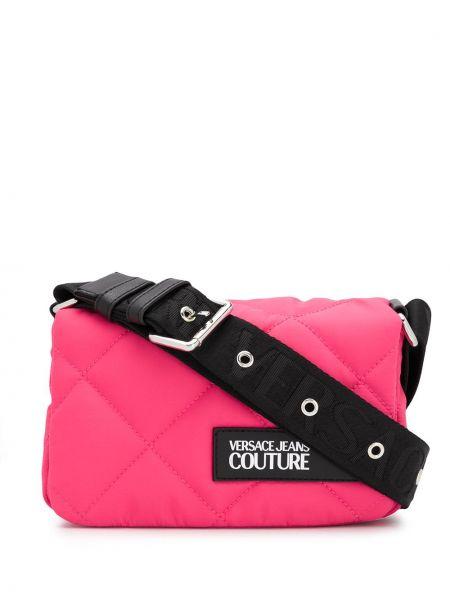 Розовые джинсы с карманами с заплатками Versace Jeans Couture