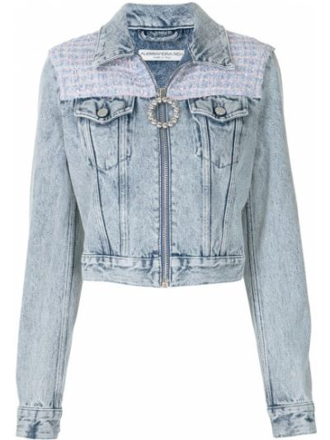 Синяя укороченная куртка Alessandra Rich