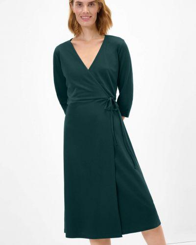 Zielona sukienka rozkloszowana z długimi rękawami Orsay