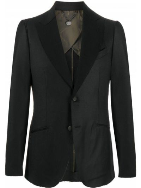 Черный пиджак на пуговицах с манжетами с карманами Maurizio Miri