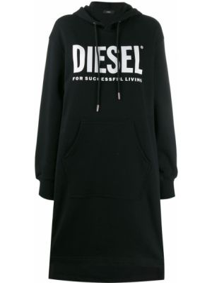 Хлопковое платье миди - черное Diesel