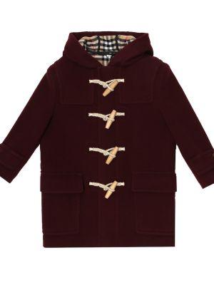 Фиолетовое шерстяное пальто на кнопках Burberry Kids